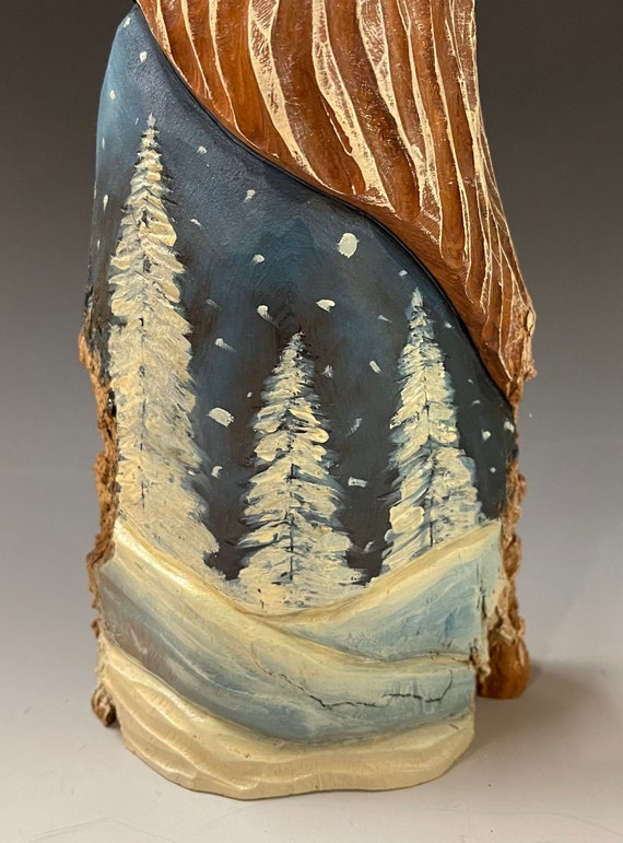 """HAND carved original 11.5"""" tall Santa w/ Winter scene from 100 year old Cottonwood Bark."""