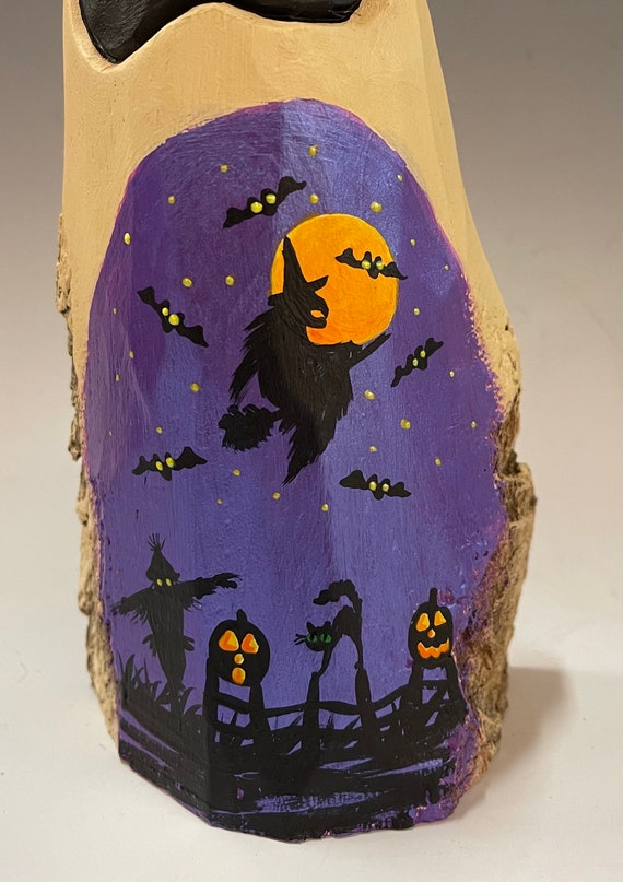 """HAND CARVED original 9"""" Halloween ghost with painted scene from 100 year old Cottonwood Bark"""