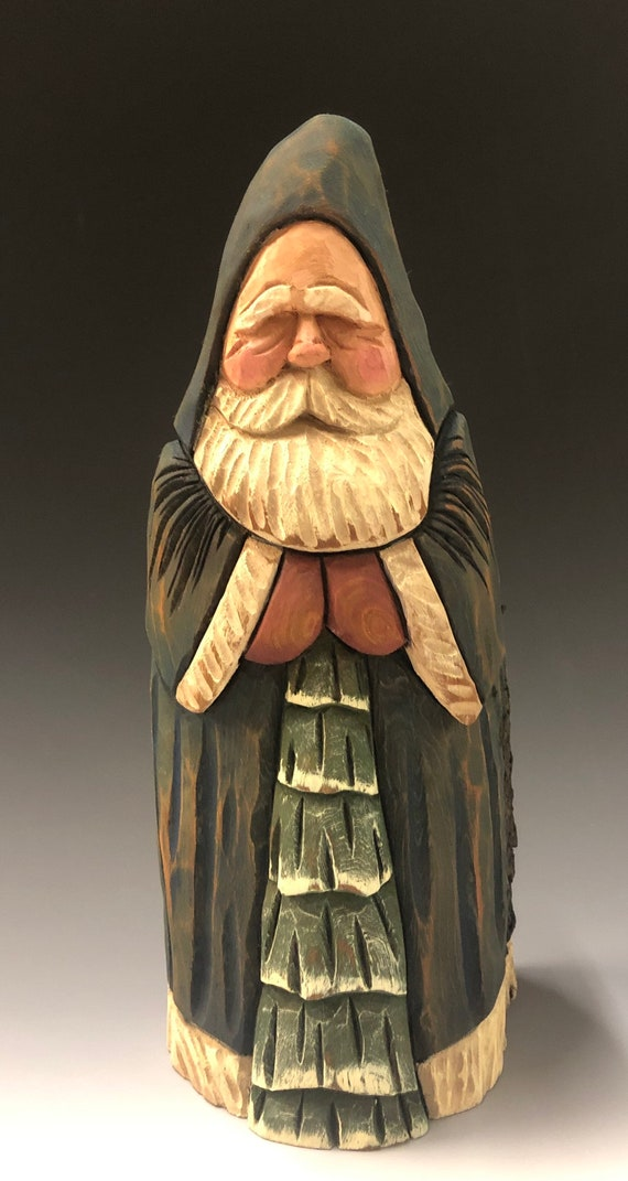 "HAND carved original 10"" tall Santa & tree with distressed finish from 100 year old Cottonwood Bark."