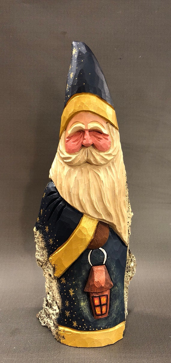 HAND carved original Santa with lantern from 100 year old Cottonwood Bark.