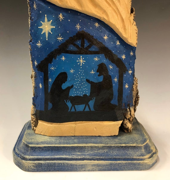 "HAND carved original 12"" tall Nativity Santa from 100 year old Cottonwood Bark."