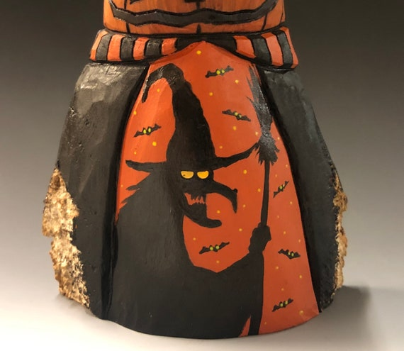 "HAND CARVED original 8"" tall Halloween Jack-O-Lantern man w/ scene from 100 year old Cottonwood Bark"