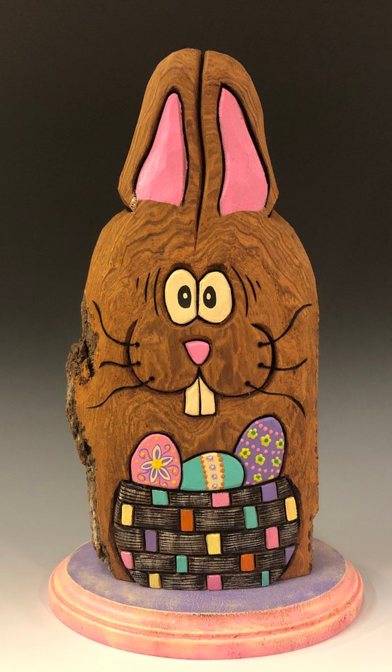 "HAND CARVED original 12"" tall Easter Bunny on bade w/ basket of eggs from 100 year old Cottonwood Bark."