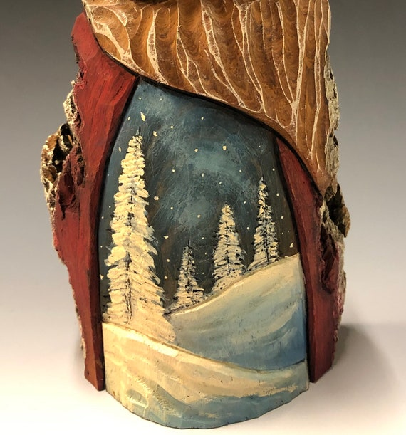 "HAND carved original 9"" tall Santa with oil stains and winter scene from 100 year old Cottonwood Bark."