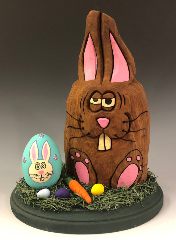 "HAND CARVED original 8 1/2"" tall Easter Bunny on base w/ eggs & carrot from 100 year old Cottonwood Bark."