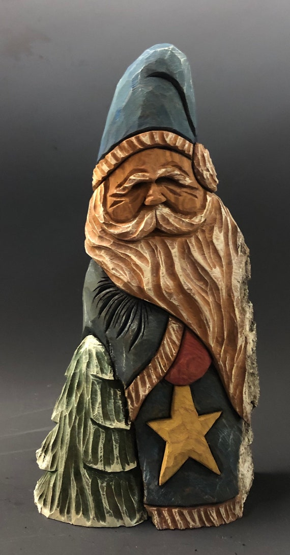 """HAND carved original 11"""" tall rustic Santa w/ tree & star from 100 year old Cottonwood Bark."""