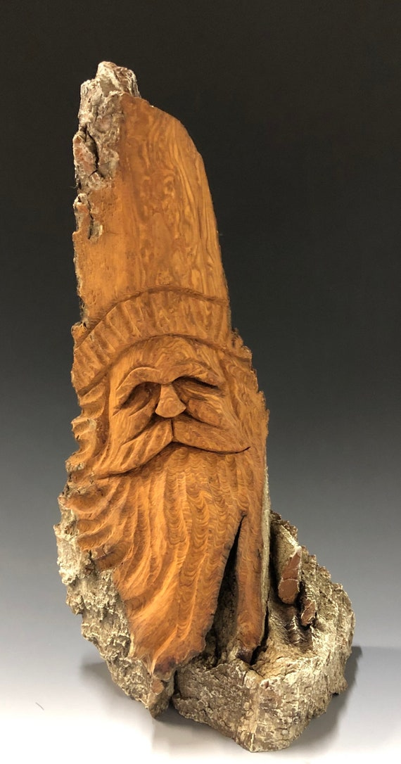 "HAND carved original 10.5"" tall unique Santa bust with natural finish from 100 year old Cottonwood Bark."