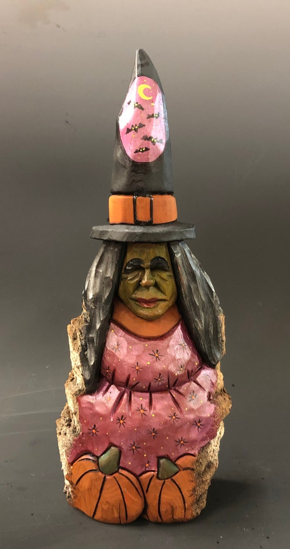 """HAND CARVED original 10"""" tall Halloween Witch from 100 year old Cottonwood Bark"""