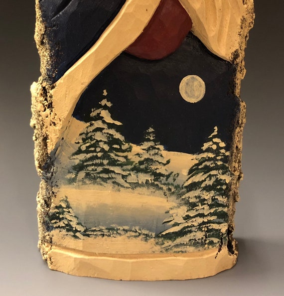 "HAND carved original 12"" tall Santa with Winter scene from 100 year old Cottonwood Bark."