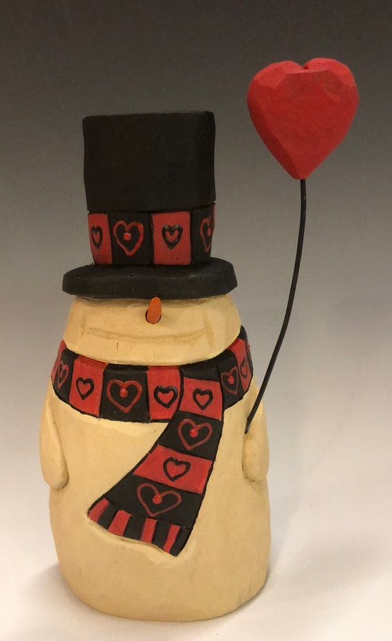 "HAND carved original 7"" Valentine Snowman with heart balloon from 100 year old Cottonwood Bark."