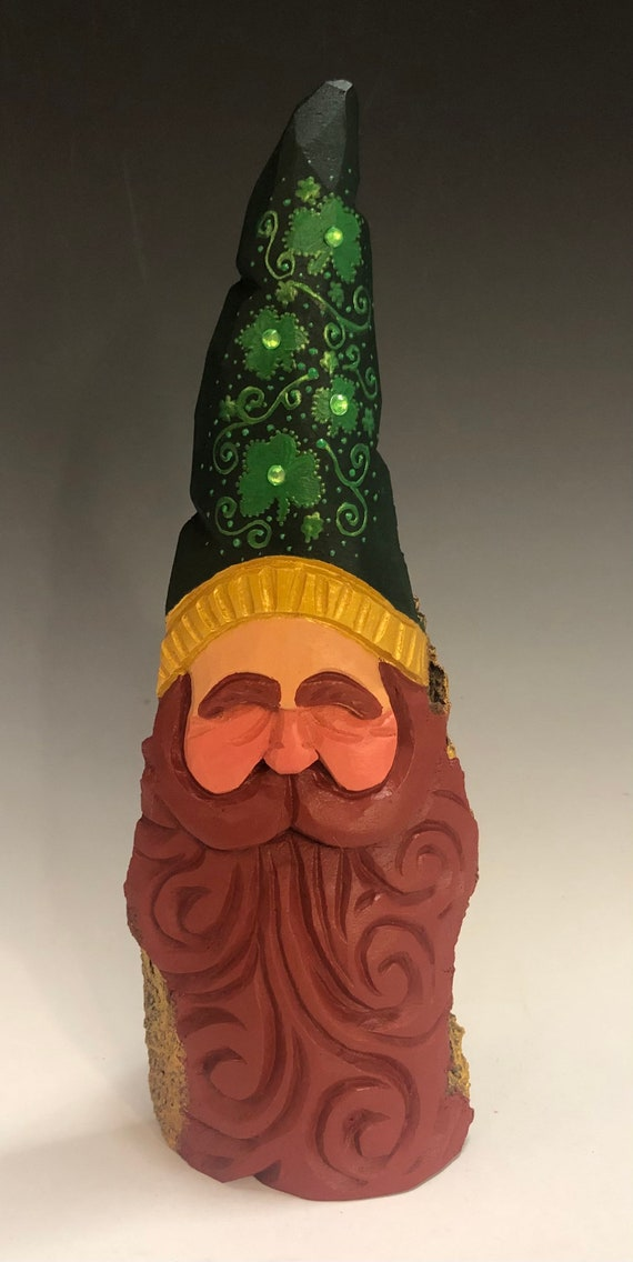 "HAND carved 8.5"" tall Irish Santa bust with Shamrock hat from 100 year old Cottonwood Bark."