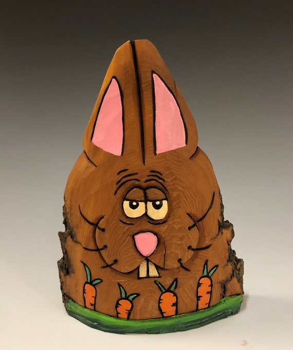 """HAND CARVED original 5.5"""" tall Easter Bunny with carrots from 100 year old Cottonwood Bark."""