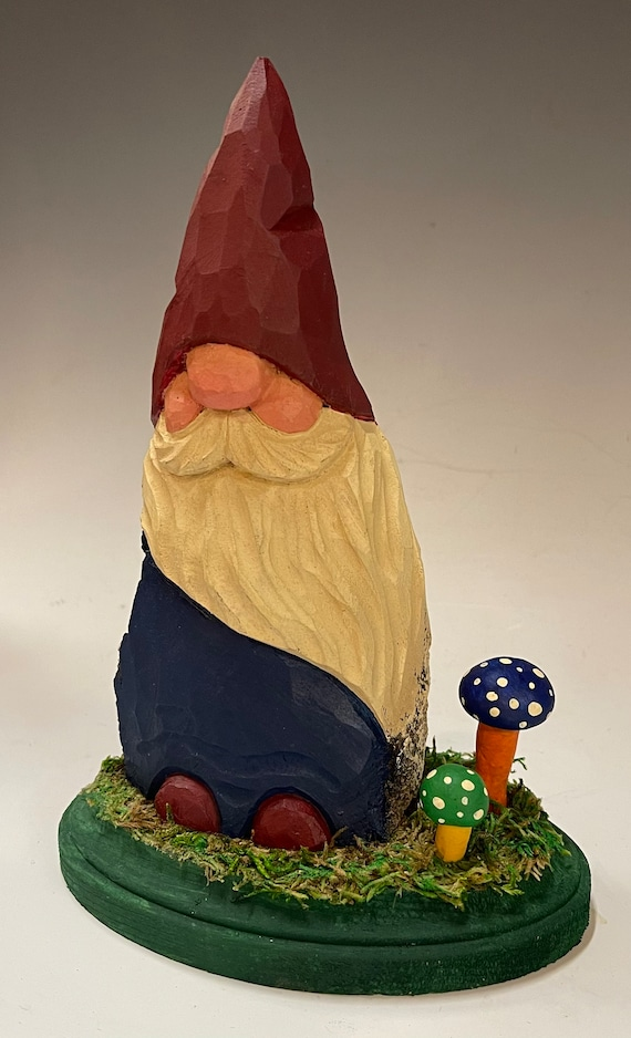 """HAND carved 7.5"""" tall Gnome w/ polymer clay mushrooms from 100 year old Cottonwood Bark."""