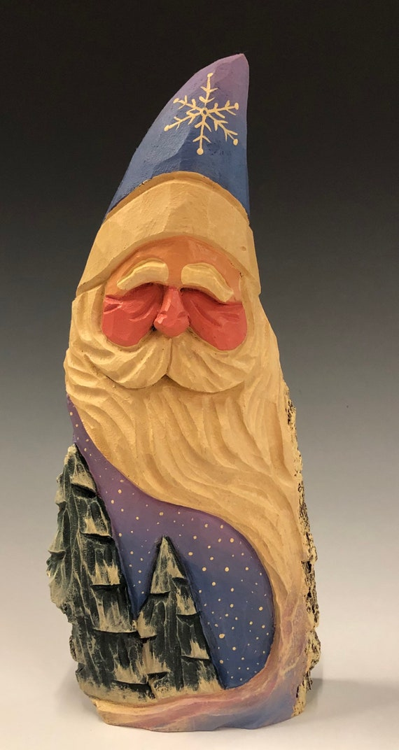"HAND carved original 8.75"" tall Santa with trees from 100 year old Cottonwood Bark."