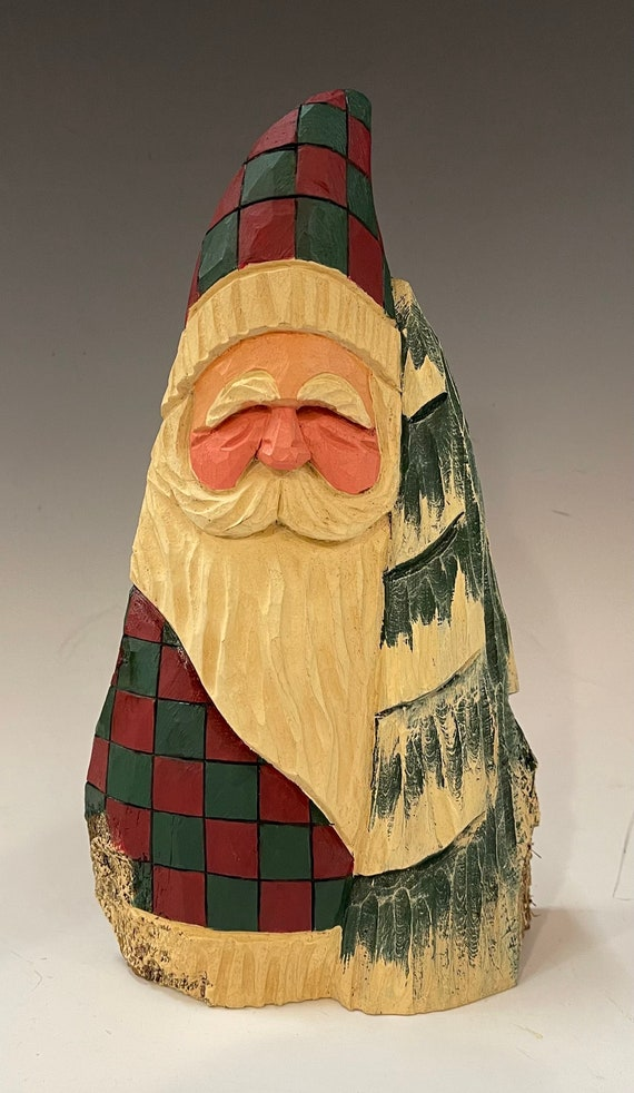 """HAND carved original 9"""" tall Santa w/ tree from 100 year old Cottonwood Bark."""