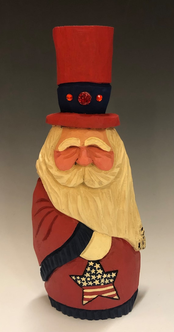 "HAND carved original 9"" tall Patriotic Santa from 100 year old Cottonwood Bark."
