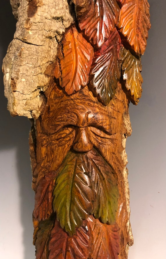"HAND CARVED original 12.5"" long Fall Green Man from 100 year old Cottonwood Bark"