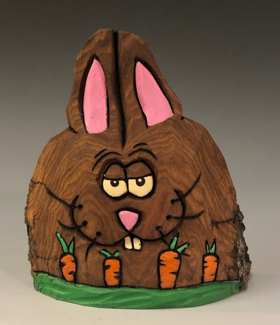 "HAND CARVED original 4"" tall Easter Bunny w/ carrots from 100 year old Cottonwood Bark."