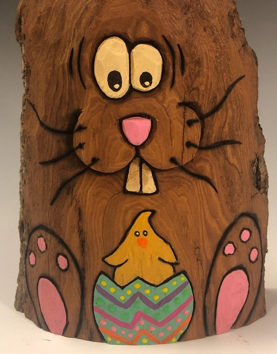 """HAND CARVED original 7.5"""" tall Easter Bunny with chick in an egg from 100 year old Cottonwood Bark."""