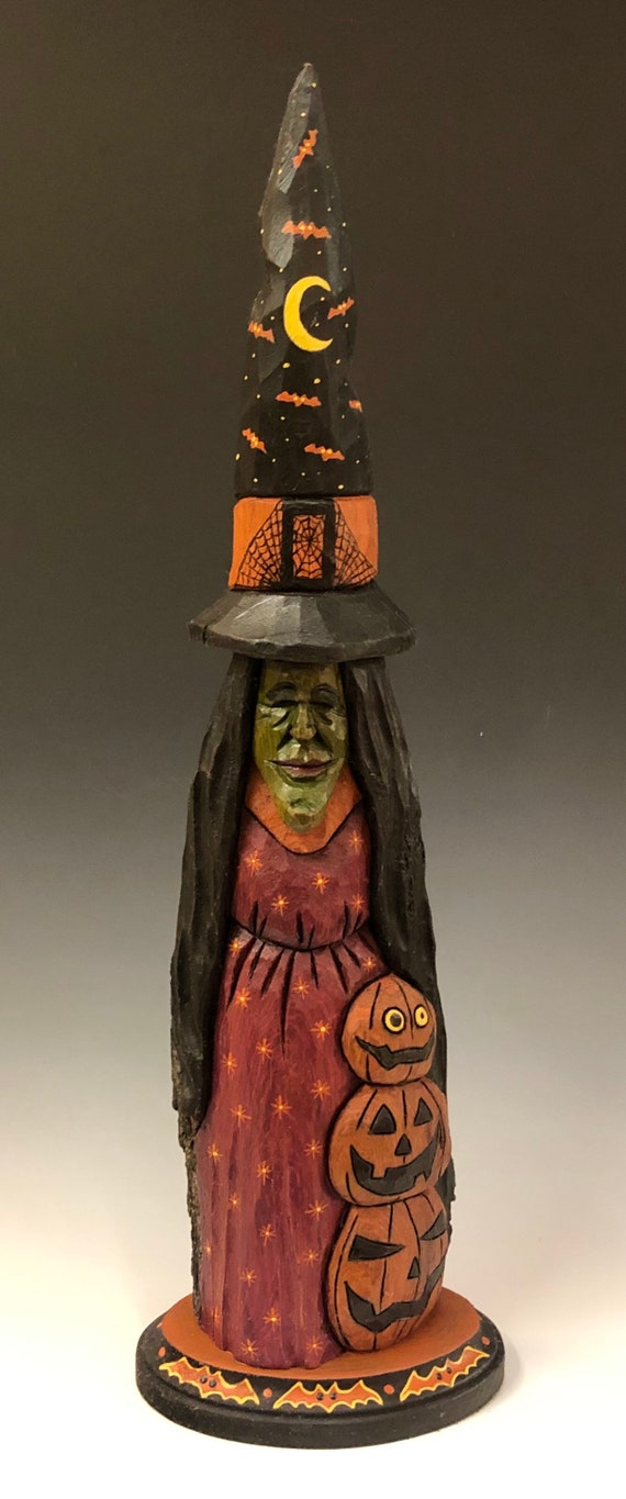 "HAND CARVED original 17"" tall Halloween Witch from 100 year old Cottonwood Bark"