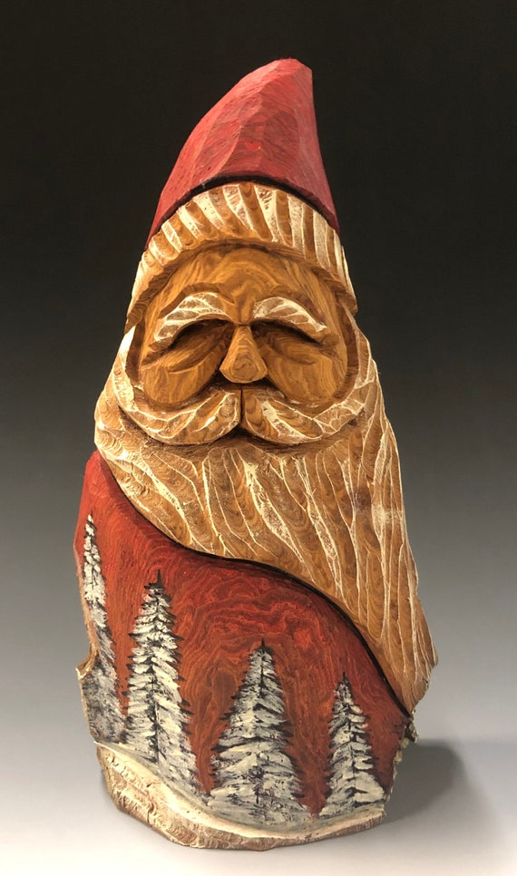 "HAND carved original 8"" tall Santa w/ burned trees & oil stain finish from 100 year old Cottonwood Bark."