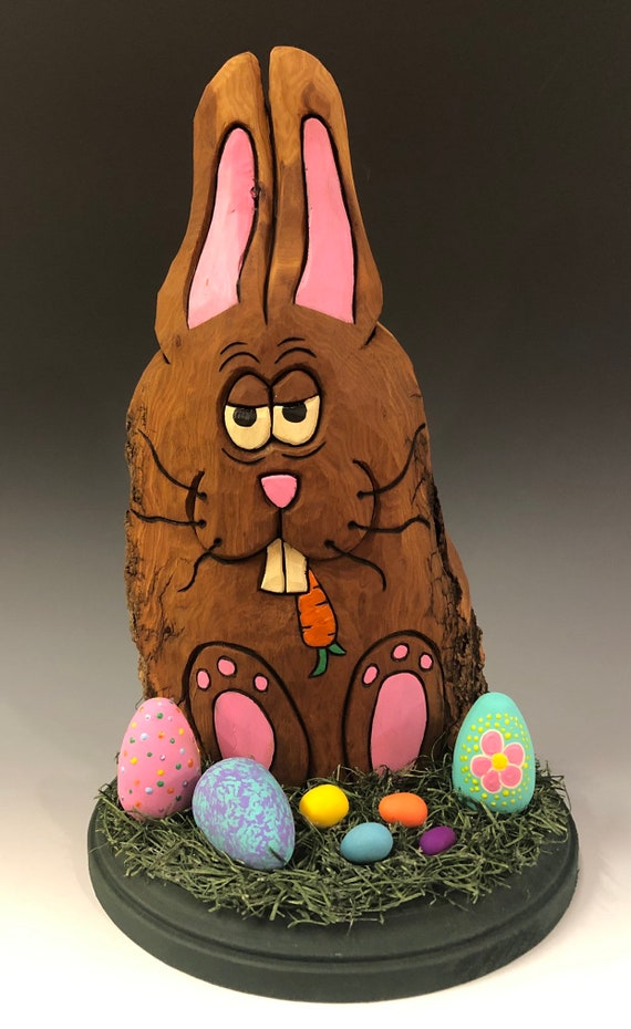 "HAND CARVED original 11"" tall Easter Bunny on base w/ moss and eggs  from 100 year old Cottonwood Bark."