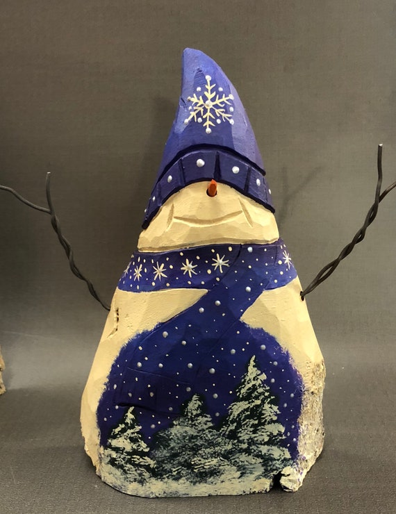 HAND CARVED original snowman with painted trees from 100 year old Cottonwood Bark.
