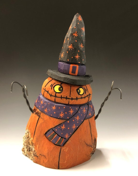 "HAND CARVED original 7"" tall Jack-O-Lantern ""snowman"" from 100 year old Cottonwood Bark"