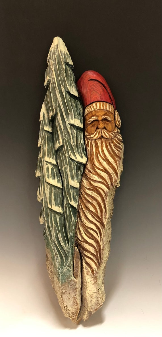 "HAND CARVED original 19"" Christmas Spirit w/ trees wall hanging from 100 year old Cottonwood Bark"