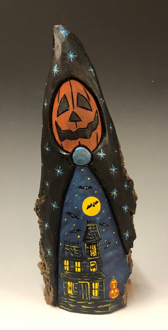 HAND CARVED original Halloween Jack-O-Lantern man with scene from 100 year old Cottonwood Bark
