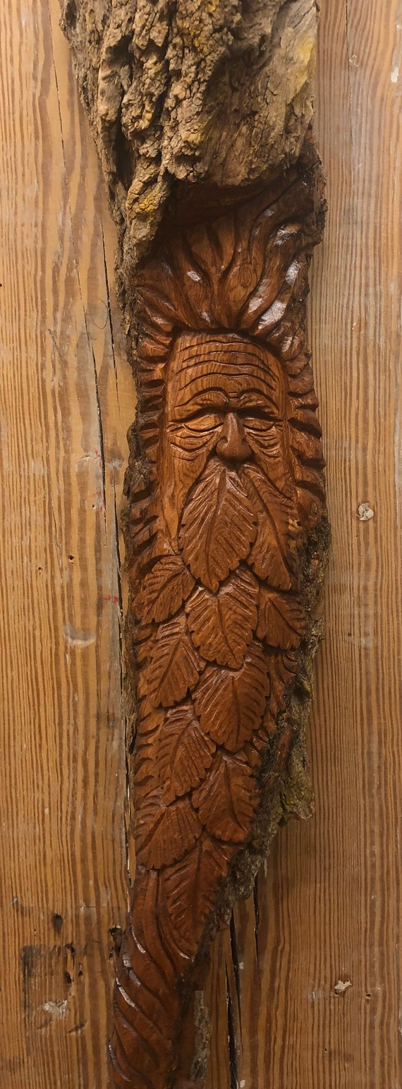 HAND CARVED original giant Green Man/Tree Spirit from 100 year old Cottonwood Bark