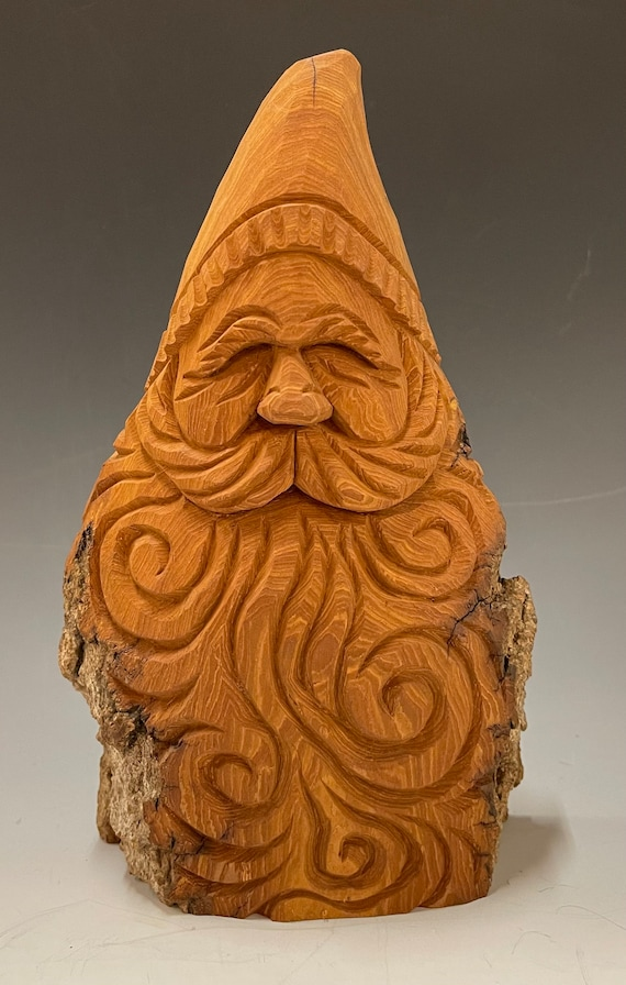 """HAND carved original 8.5"""" tall rustic Santa bust natural finish from 100 year old Cottonwood Bark."""