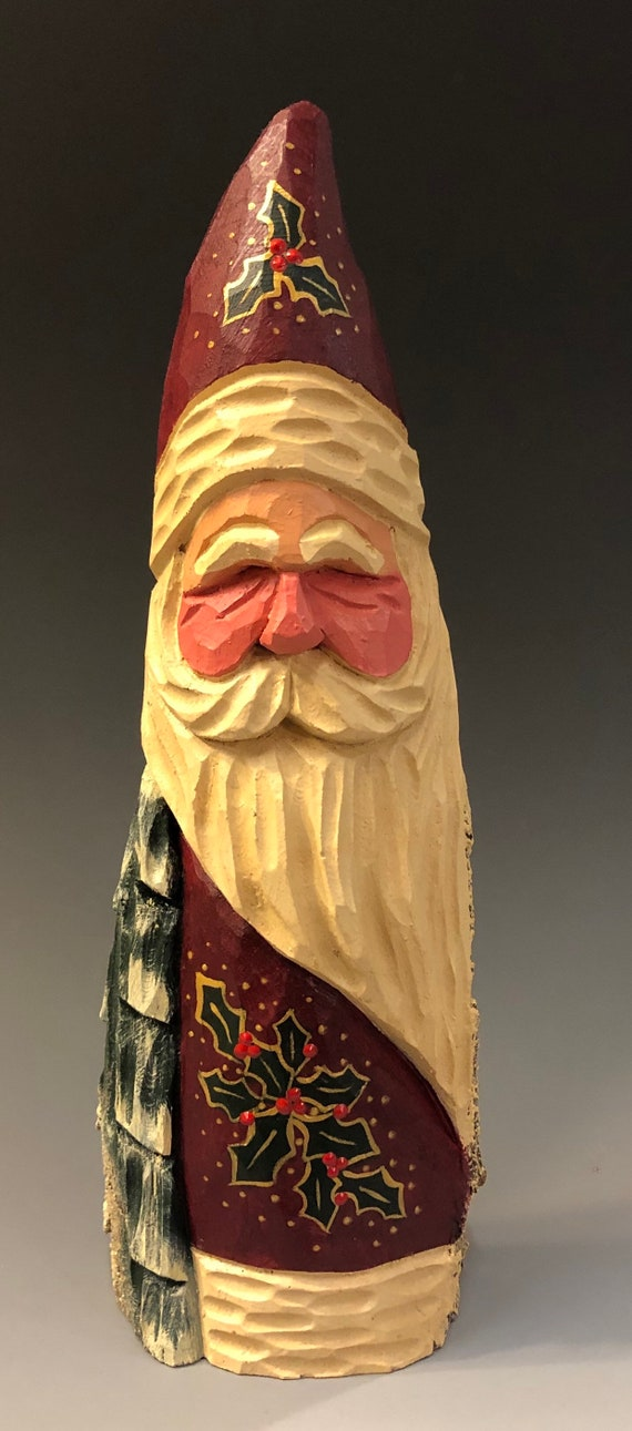 """HAND carved original 8.5"""" tall Santa w/ tree & holly from 100 year old Cottonwood Bark."""