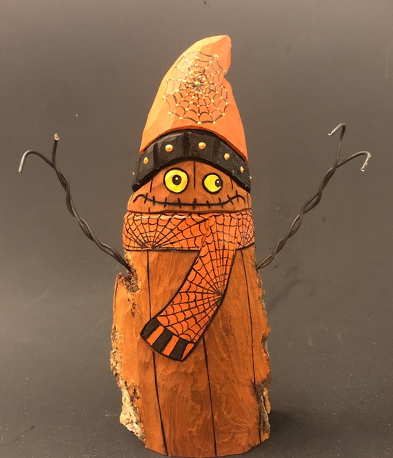 """HAND CARVED original 8.5"""" tall Jack-O-Lantern """"snowman"""" from 100 year old Cottonwood Bark"""