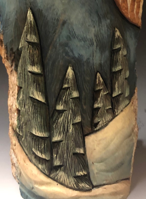 """HAND carved original 15.5"""" tall Santa with oil stains and carved trees from 100 year old Cottonwood Bark."""