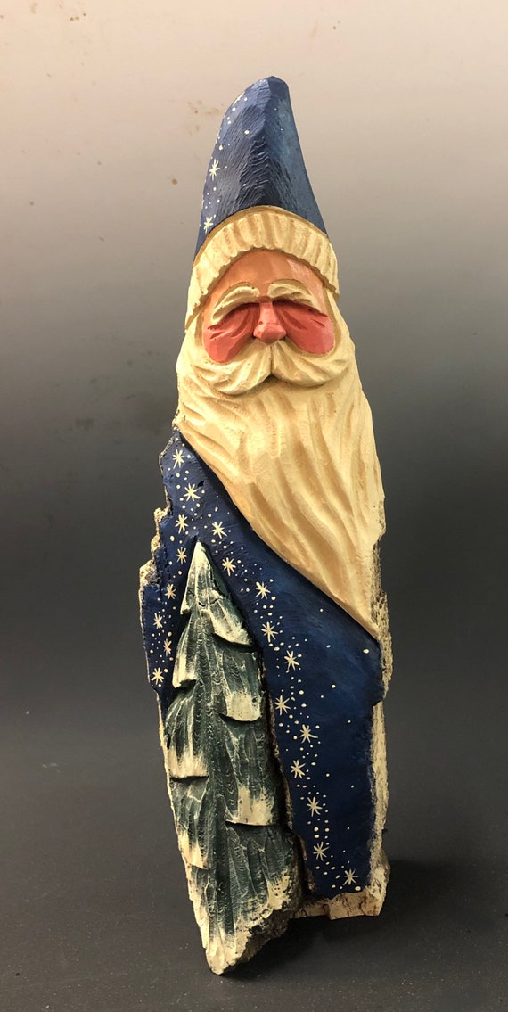 """HAND carved 13"""" tall Santa w/ tree & stars from 100 year old Cottonwood Bark."""