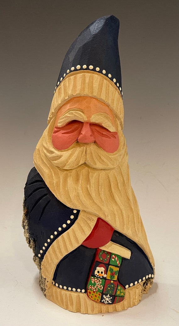 """HAND carved original 8.5"""" tall Santa w/sock  from 100 year old Cottonwood Bark."""