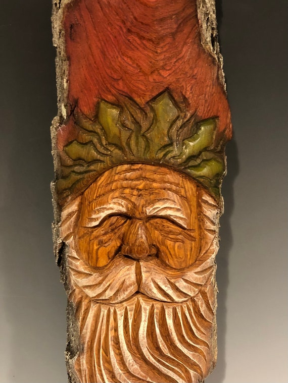 "HAND CARVED original 18.5"" Christmas Spirit  wall hanging w/ holly from 100 year old Cottonwood Bark"