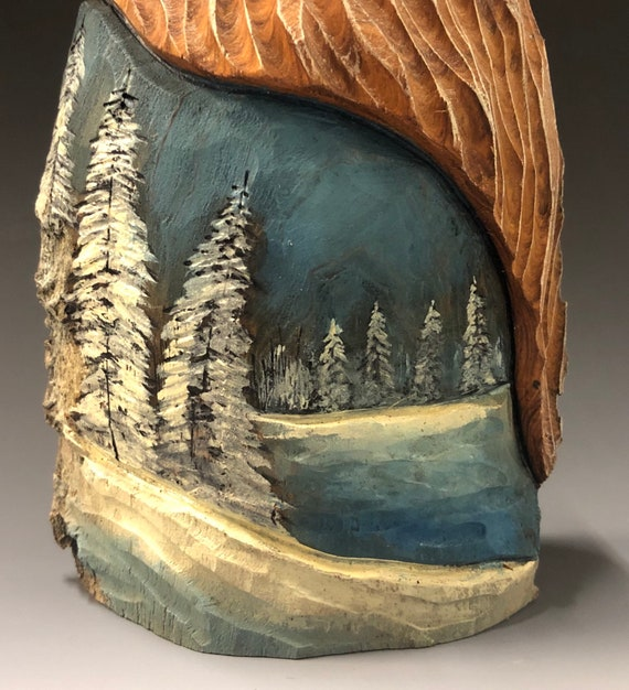 "HAND carved original 8"" tall Santa with oil stains and winter scene from 100 year old Cottonwood Bark."