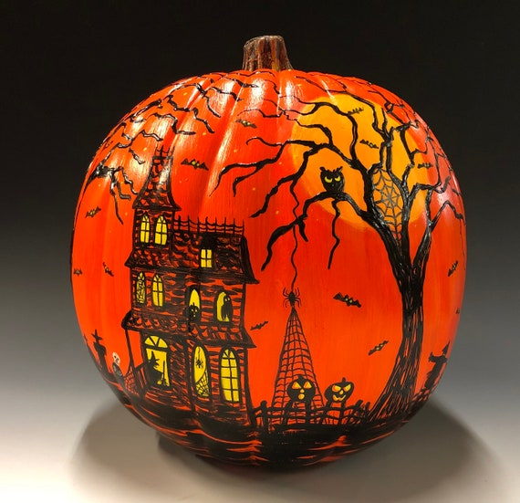 "Original Halloween painting on 9"" foam pumpkin."