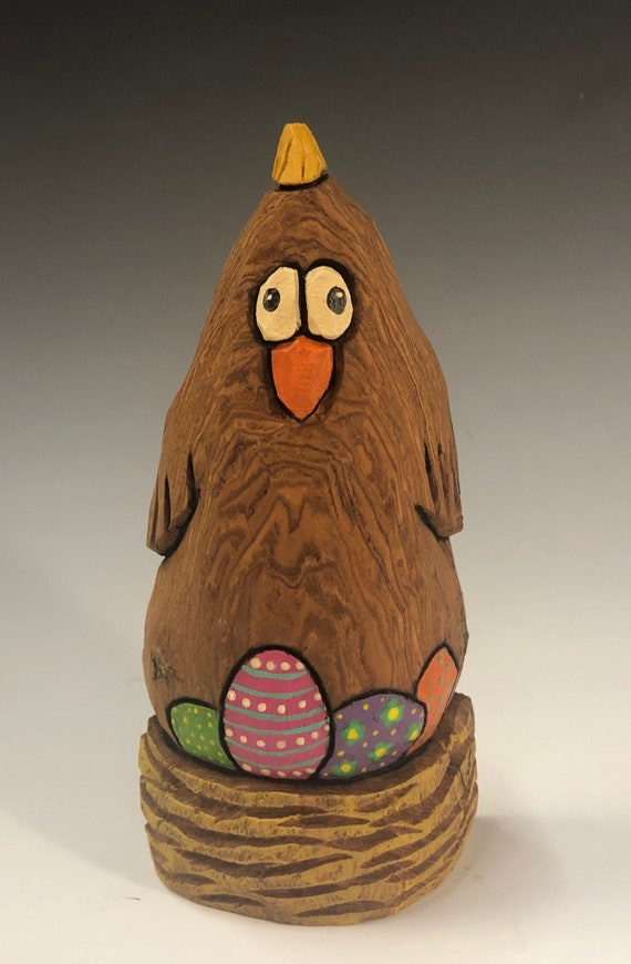 """HAND CARVED original 6"""" tall Easter Chicken with eggs from 100 year old Cottonwood Bark."""