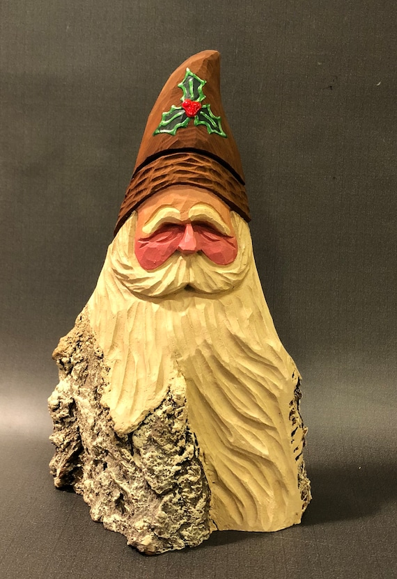 HAND carved original large Santa bust with natural hat from 100 year old Cottonwood Bark.