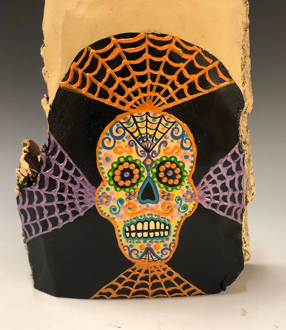 HAND CARVED original  Halloween day of the dead ghost from 100 year old Cottonwood Bark