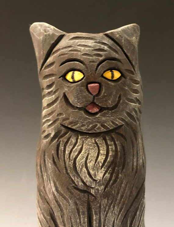 "HAND CARVED original 8"" tall Halloween kitty w/ pumpkin from 100 year old Cottonwood Bark."
