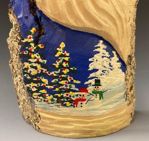 "HAND carved original 10.5"" tall Santa w/ Winter Snowmen from 100 year old Cottonwood Bark."