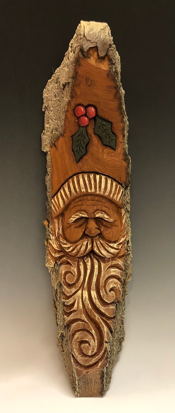 """HAND CARVED original 15"""" Christmas Spirit  wall hanging from 100 year old Cottonwood Bark"""