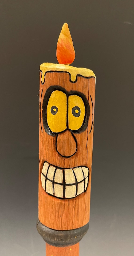 """HAND CARVED original 13.5"""" tall Halloween spooky candle from 100 year old Cottonwood Bark"""