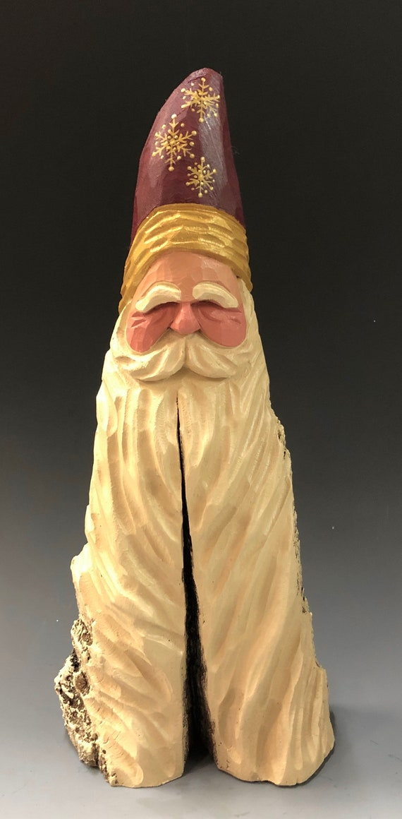 "HAND carved original 11"" tall Santa bust with long beard from 100 year old Cottonwood Bark."