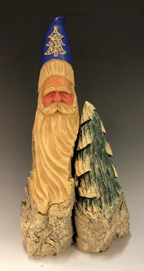 "HAND carved original 13"" tall Santa w/ tree from 100 year old Cottonwood Bark."