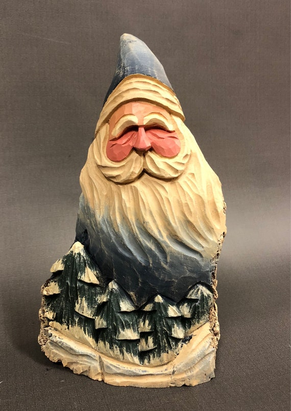 HAND carved original Santa and trees from 100 year old Cottonwood Bark.